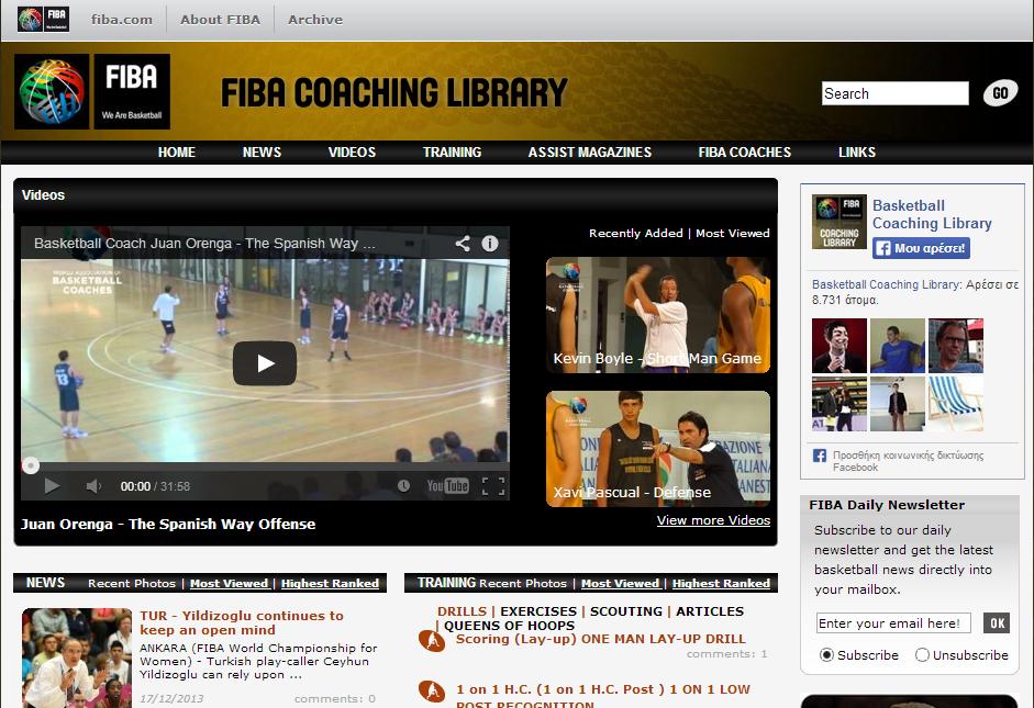 Fiba coaching library Η σελίδα coaching library αποτελεί μέρος του ιστότοπου της παγκόσμιας ομοσπονδίας μπάσκετ FIBA. Παρέχει πληροφορίες σχετικά με την προπόνηση τεχνικής και τακτικής στο μπάσκετ. Προπονητές διεθνούς βεληνεκούς παρουσιάζουν τις προτάσεις τους καθώς και ασκήσεις για την προπόνηση τεχνικής και τακτικής. Ακόμη, αναλύεται η τακτική από πρόσφατους αγώνες μπάσκετ μεγάλων διοργανώσεων. Η παρουσίαση της ιστοσελίδας πραγματοποιείται στην αγγλική γλώσσα.  Σίγουρα αποτελεί μια πολύ καλή πηγή ενημέρωσης των προπονητών μπάσκετ