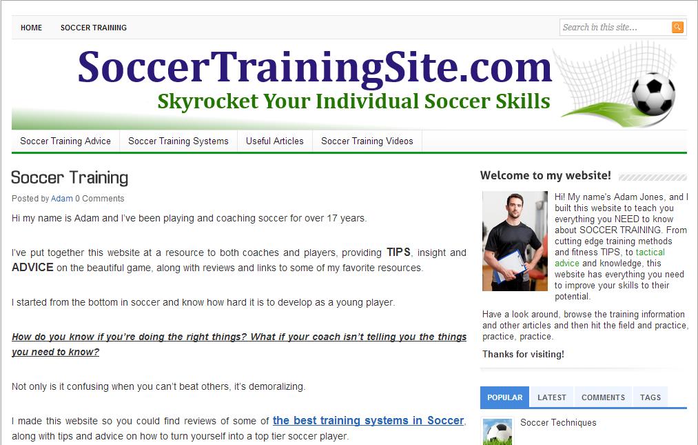 SoccerTrainingSite Στο site αυτό θα βρείτε προπονητικές συμβουλές, άρθρα και video που παρουσιάζουν χρήσιμες ασκήσεις και τεχνικές. Δίνει έμφαση κυρίως στις ασκήσεις τεχνικής. Πρέπει να γνωρίζετε Αγγλικά.
