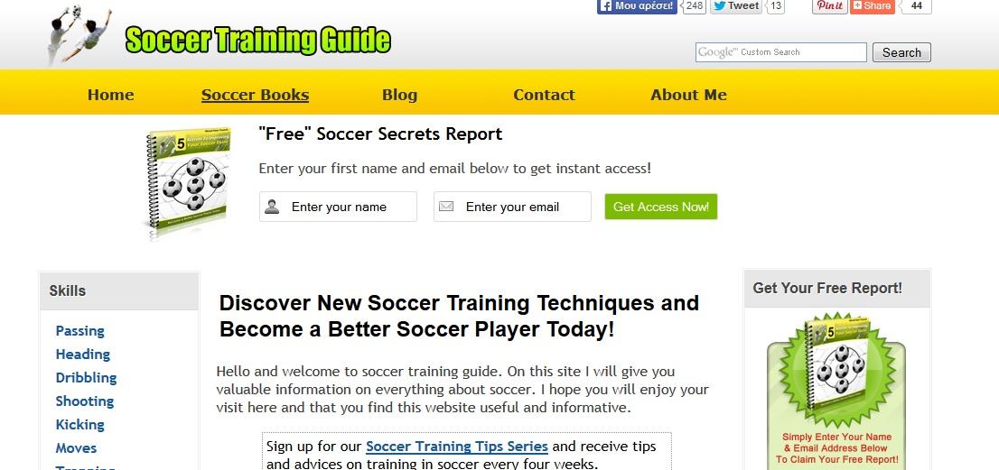 Soccer Training Guide Αρκετά ενδιαφέρουσα ιστοσελίδα η οποία παρουσιάζει αναλυτικά πολλούς τομείς τεχνικής και τακτικής με αρκετή έμφαση στην τελευταία. Για Αγγλομαθείς.