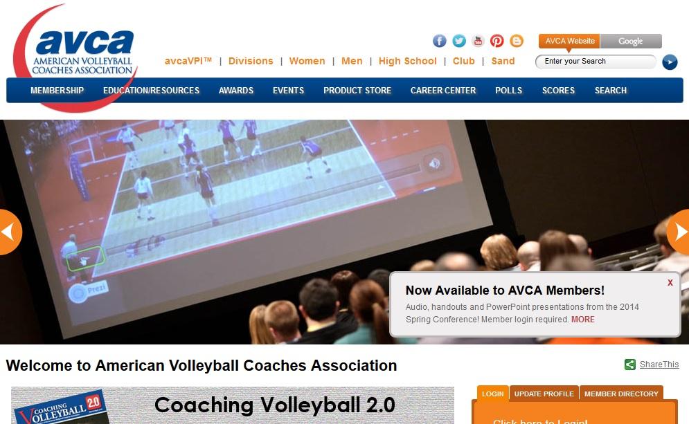 American Volleyball Coaches Association Πρόκειται για το επίσημο site του συνδέσμου προπονητών βόλεϊ στις ΗΠΑ. Στο site αυτό μπορείτε να βρείτε πληροφορίες σχετικά με προγράμματα εκπαίδευσης προπονητών, ασκησιολόγιο, εκδηλώσεις και θέσεις εργασίας.