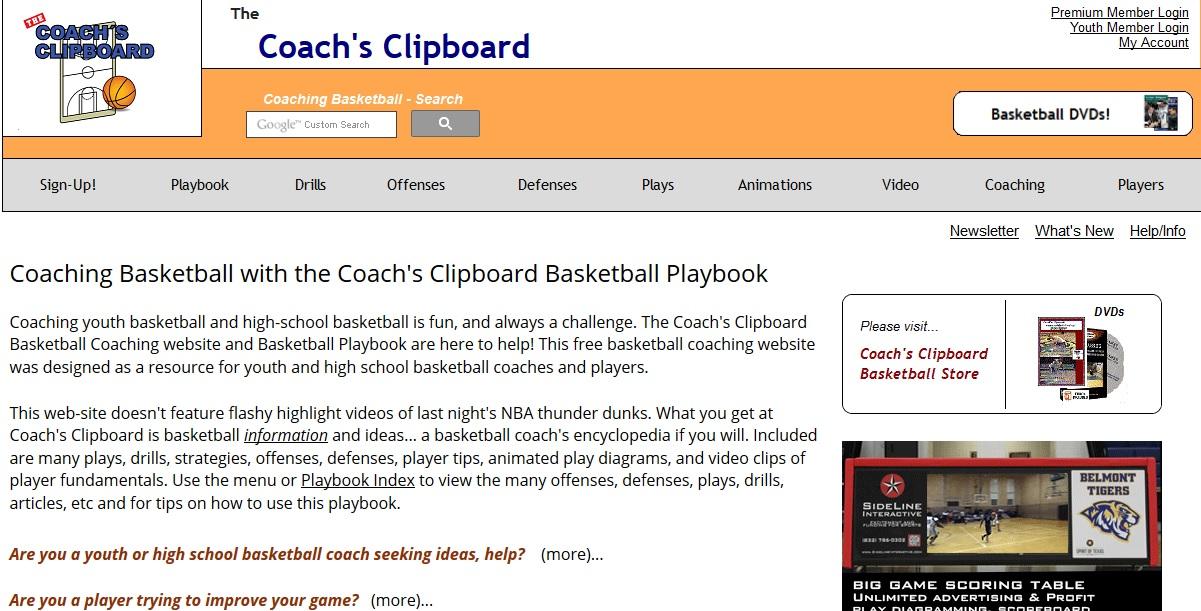 Coach's Clipboard Ένα site το οποίο μπορεί να αποτελέσει πηγή έμπνευσης για τους προπονητές αλλά και χρήσιμο βοηθό για την ανάδειξη της δουλειάς τους. Το coachesclipboard περιέχει πληροφορίες για την ατομική τεχνική αλλά και τακτική. Τα περισσότερα περιεχόμενα παρουσιάζονται με κείμενο, animations και video.