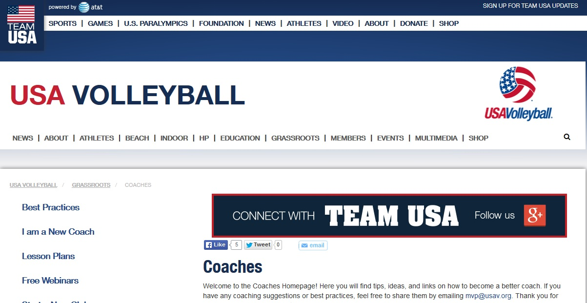 USA Volleyball Η επίσημη ιστοσελίδα της αμερικάνικης ομοσπονδίας βόλεϊ. Στην ιστοσελίδα υπάρχουν όλα τα νέα για τις εθνικές ομάδες μπάσκετ των ΗΠΑ. Το σημαντικό, όμως , για τους προπονητές είναι ότι περιέχει πληροφορίες αλλά και αρκετούς συνδέσμους που οδηγούν σε αρχεία, που μπορείτε να κατεβάσετε στον υπολογιστή σας και έχουν να κάνουν με το πρόγραμμα επιμόρφωσης και αξιολόγησης των προπονητών βόλεϊ.