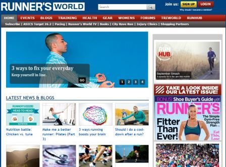 Runnersworld.co.uk Καλεντάρι αγώνων με αποτελέσματα προηγούμενων και σχόλια από τους συμμετέχοντες. Πάνω από 1500 άρθρα από blog ποικίλους θεματολογίας. Συμβουλές προπονητικής για αρχάριους, ερασιτέχνες και επαγγελματίες. Θέματα υγείας όπως διατροφή, συνταγές για δρομείς και συμβουλές αποκατάστασης τραυματισμών. Εξοπλισμός (παπούτσια, ρούχα, βιβλία, γκάτζετ). Θέματα εξειδικευμένα για γυναίκες δρομείς γυναίκες, φόρουμ συζήτησης με θεματολογία, και κατηγορία ειδικά για τον κόσμο των τριαθλητών.