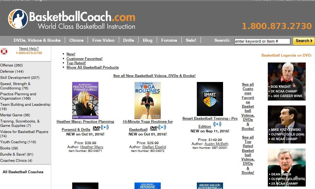 BasketballCoach Ιστοσελίδα που προσφέρει μια πλήρη ενημέρωση στον επισκέπτη. Περιέχει ασκησιολογίο, προϊόντα ενημέρωσης όπως DVD, βιβλία κα, καθώς και ενημέρωση σχετικά με σεμινάρια που πραγματοποιούνται στην άλλη άκρη του Ατλαντικού από τους κορυφαίους του είδους.