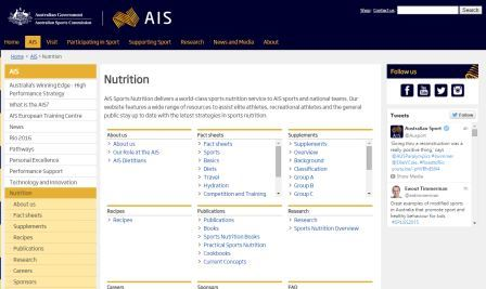 AIS Sports Nutrition Πρόκειται για την ιστοσελίδα της Αυστραλιανής Επιτροπής Αθλητισμού η οποία είναι αφιερωμένη στην αθλητική διατροφή. Περιέχει πολλές επιστημονικές και πρακτικές πληροφορίες. Για Αγγλομαθείς.