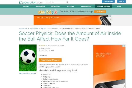 Soccer physics Για όσους από εσάς ασχολείστε με το σχολείο. Εξαιρετικές ιδέες για πειράματα φυσική πάνω στο ποδόσφαιρο με τους μαθητές σας. Θα ξετρελαθούν. Είναι για Αγγλομαθείς.