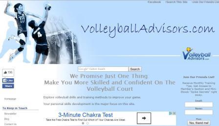 Volleyballadvisors Στην ιστοσελίδα θα βρείτε ασκήσεις και προπονητικές συμβουλές για να βελτιώσετε τις τεχνικές σας ικανότητες στο σερβίς, την πάσα, το καρφί κλπ. Και να αποκτήσετε περισσότερη αυτοπεποίθηση στον αγωνιστικό χώρο. Επίσης: Πώς να εκτελέσετε βασικές δεξιότητες. Πώς να πασάρετε, Πώς να σερβίρετε. Ομαδικές ασκήσεις και τακτικές για προχωρημένους παίκτες. Νοερή προπόνηση για βόλεϊ. Βασικούς και προχωρημένους κανονισμούς. Ασκήσεις φυσικής κατάστασης για να βελτιώσετε το κάθετο άλμα και τη δύναμη. Διάσημους παίκτες και προπονητές. Διάσημες φράσεις.