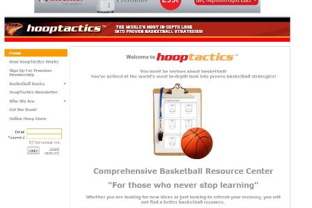 hooptactics HoopTactics is a comprehensive online resource designed to greatly enhance your basketball knowledge, expertise and appreciation of this great game. Decades of intensive research and study have gone into building this site. Hundreds of offensive and defensive strategies are illustrated in great detail. From top professional ranks to the beginner youth levels, HoopTactics has something for everyone.  It is comprised of a multitude of in-depth, easy to understand, graphical presentations that take you deep into the world of basketball with hundreds of proven offensive, defensive, coaching and playing strategies that will help you win on the court, in the locker room and on the bench.  Whether you are looking for new ideas or just looking to refresh your memory, you will not find a better basketball resource. Guaranteed. HoopTactics presentations are available 24 hours a day, 365 days a year, so you can surf and learn at your own pace. You will return again and again to HoopTactics for new answers, new motivation , and new ideas.