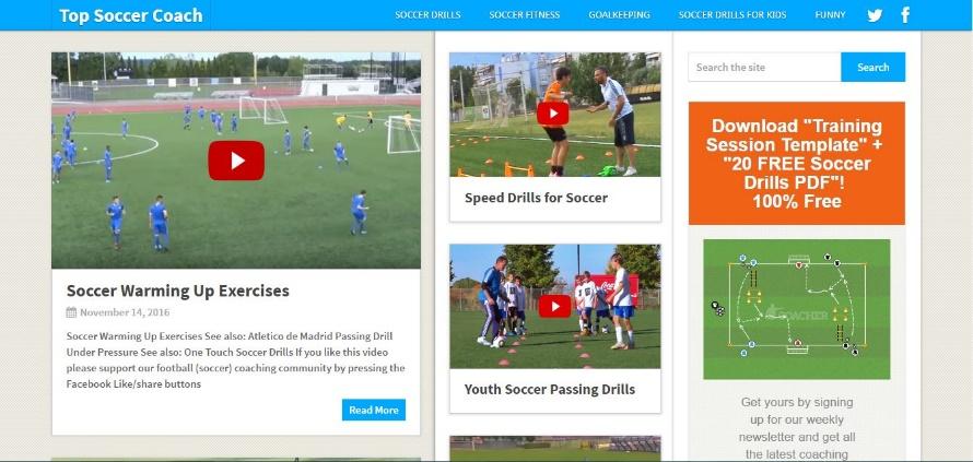 topsoccercoach Εξαιρετικό site με μεγάλο αριθμό πληροφοριών πάνω σε θέματα φυσικής κατάστασης, τακτικής και τεχνικής για το ποδόσφαιρο. Απευθύνεται τόσο σε παιδιά όσο και σε ενήλικες αθλητές και περιέχει πληθώρα βίντεο με επίδειξη ασκήσεων. Περιέχει επίσης και συνεντεύξεις.