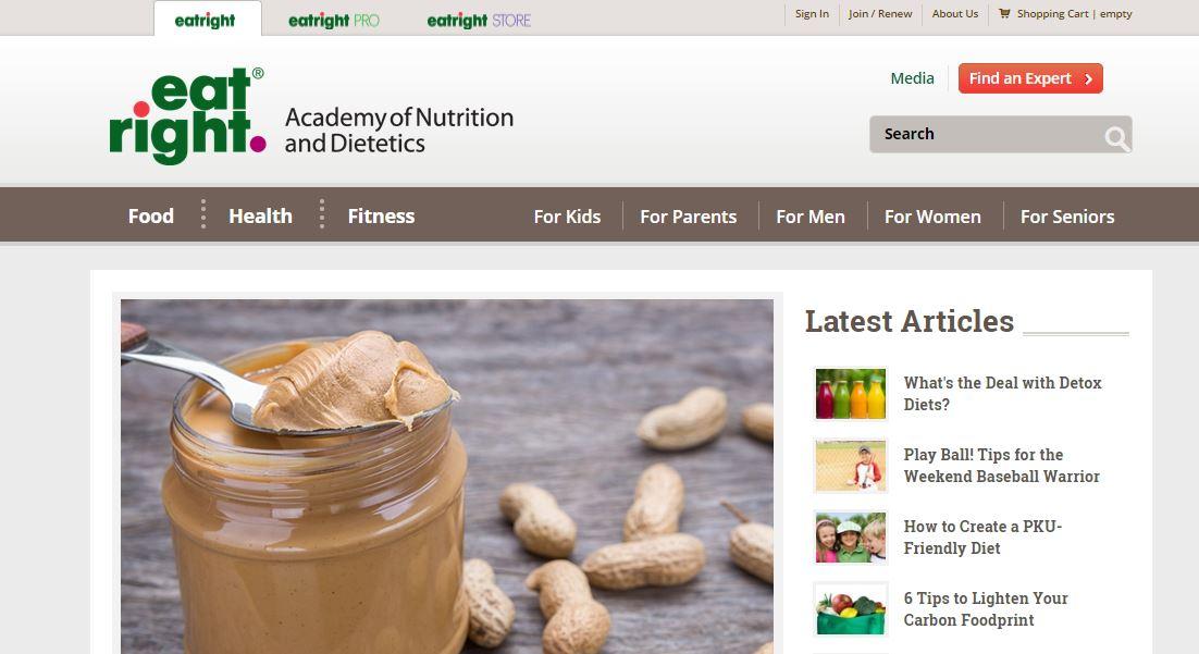 eatright Ιστοσελίδα σχετικά με την διατροφή και την άσκηση. Παρέχει πληροφορίες σχετικά με δίαιτες και διατροφικά συμπληρώματα καθώς και αρθρογραφία πάνω σε επίκαιρα θέματα διατροφής (βιταμίνες, αντιοξειδωτικά κ.α.)