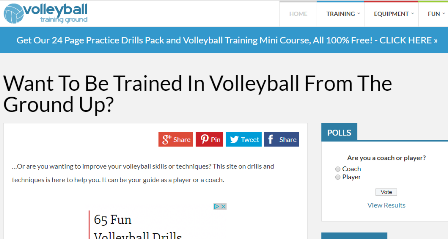 volleyball-training-ground.com Μια ιστοσελίδα με χρήσιμες πληροφορίες για την φυσική κατάσταση , επιλογή ασκήσεων και τον τρόπο εκτέλεσης . Περιέχει πληροφορίες για την τεχνική της κίνησης παρέχοντας λέξεις κλειδιά . Το site αναφέρεται σε όλα τα επίπεδα.