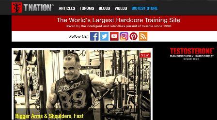 Testosterone Nation Ένα site που έχει τα πάντα. Βίντεο με εκτελέσεις ασκήσεων, προπονητικά προγράμματα, διατροφή και συμπληρώματα. Μερικοί από τους συγγραφείς είναι οι Bret Contreras , Mark Rippetoe και, Charles Staley.