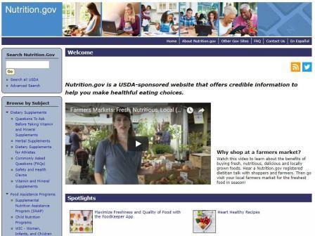 nutrition.gov Είναι μια αμερικανική ιστοσελίδα που προσφέρει πολύτιμες πληροφορίες που θα σε βοηθήσουν να κάνεις υγιεινές επιλογές διατροφής.