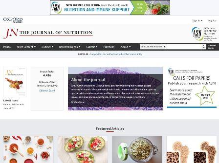 Journal of Nutrition Το περιοδικό Journal of Nutrition (JN) δημοσιεύει επιστημονικά άρθρα που καλύπτουν όλες τις πτυχές της πειραματικής διατροφής σε ανθρώπους και άλλα είδη ζώων. Ειδικά άρθρα όπως ανασκοπήσεις και βιογραφίες σημαντικών επιστημόνων για τη διατροφή καθώς και θέματα, γνώμες και σχόλια για αμφιλεγόμενα ζητήματα στη διατροφή.